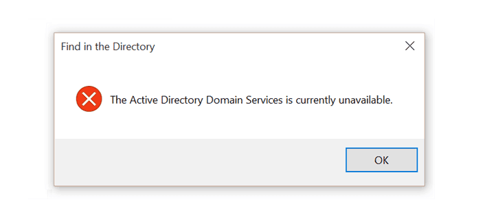 Active Directory Domain Services Currently Unavailable