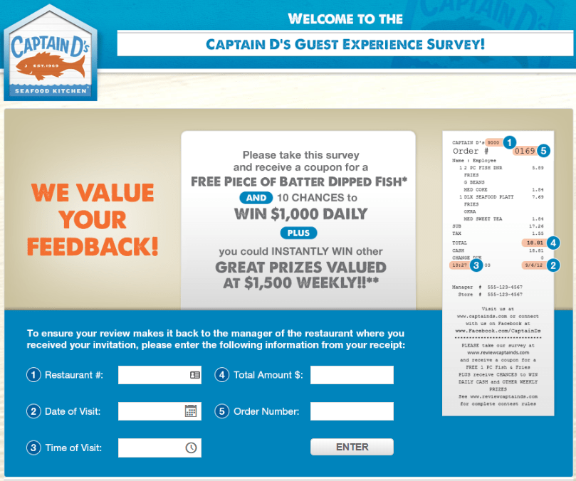 Captain D's Restaurant Survey at www.reviewcaptainds.com