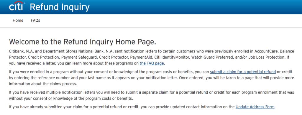 www.citi.com/refundinquiry