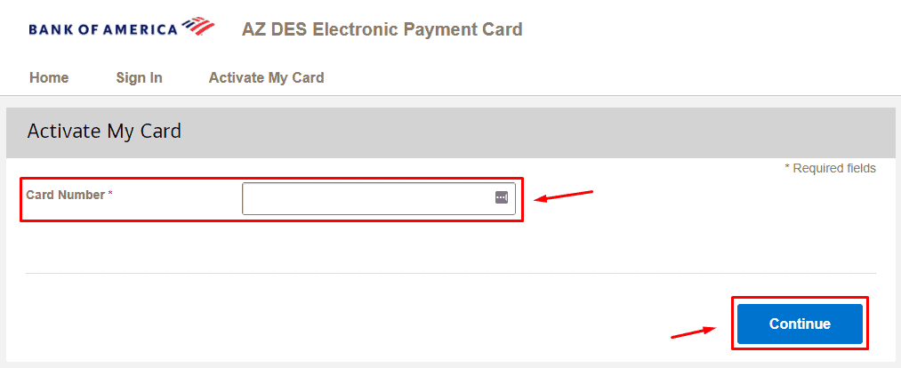 Enter AZ DES Card Number