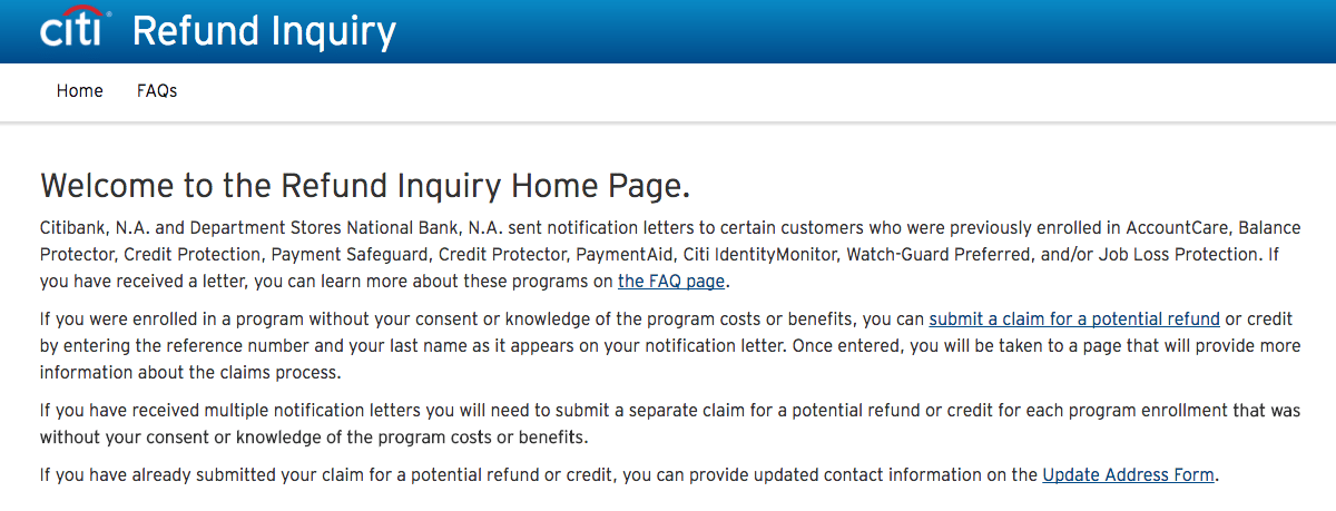 www.citi.com/refundinquiry [Submit A Claim] HERE for the Refund