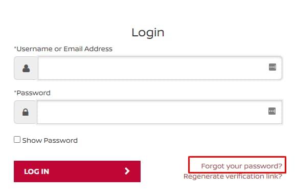 Recover Forgot Password at www.NissanFinance.com